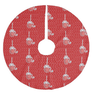 Round Tradiationa Shaped Ornament in Red and White Brushed Polyester Tree Skirt