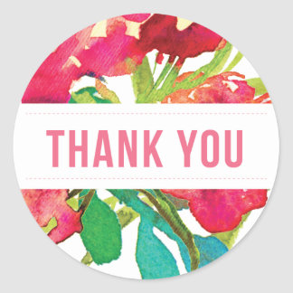 Round Tropical Floral Thank You Sticker