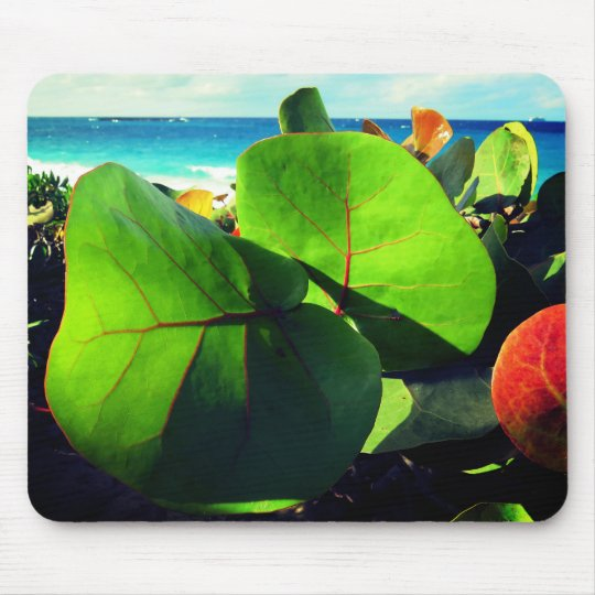 Round Tropical Leaves Mouse Pad
