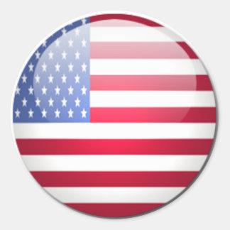 Round USA Flag Round Sticker