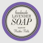 Round Vintage Label Frame Lavender Soap Template Round Stickers