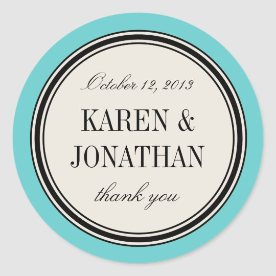 Round Vintage Label, Wedding Favour Template, Blue Classic