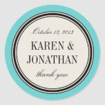 Round Vintage Label, Wedding Favour Template, Blue Round Sticker