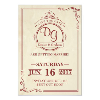 Round Vintage Save The Date Card