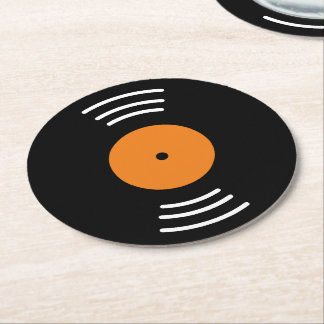 Round vinyl music record paper coaster set