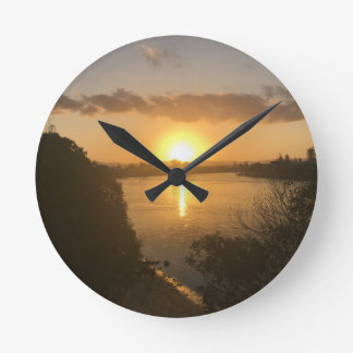Round Wall clock sunset.