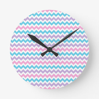 Round Wall Clock, Turquoise, Pink, Mauve, White Ch Round Clock
