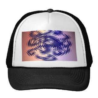 round waves blue abstract hat