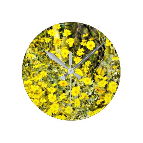 "Round ""Wildflower"" Wall Clock"