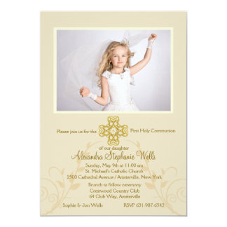 Rounded Cross Religious Photo Invitation