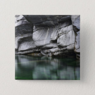 Rounded Rock Cliff by Verzasca River 15 Cm Square Badge