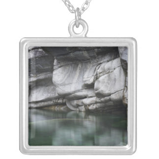 Rounded Rock Cliff by Verzasca River Silver Plated Necklace