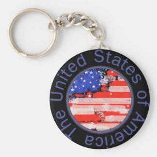 rounded USA flag Basic Round Button Key Ring