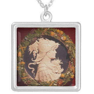 Roundel bearing a profile portrait silver plated necklace