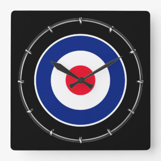 Roundel Classic Target Graphic Square Wall Clock