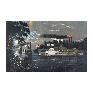 Rounding a Bend on the Mississippi Steamboat Canvas Print