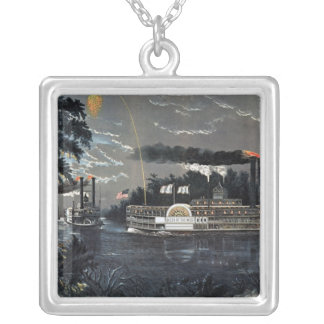 Rounding a Bend on the Mississippi Steamboat Silver Plated Necklace