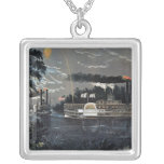 Rounding a Bend on the Mississippi Steamboat Square Pendant Necklace