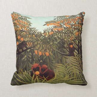Rousseau - Apes in the Orange Grove Throw Pillow