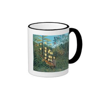 Rousseau - Battling Tiger and Buffalo Ringer Mug