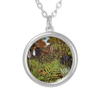 Rousseau - Exotic Landscape Round Pendant Necklace