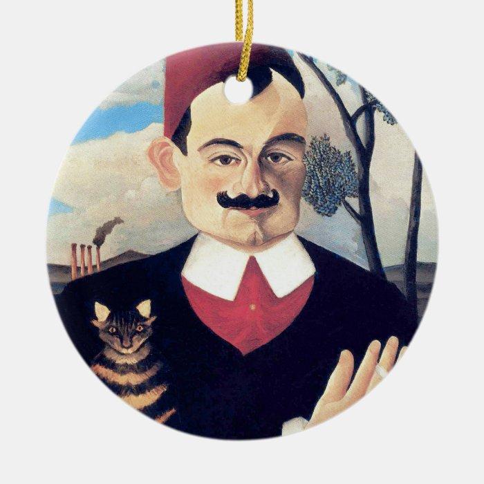 Rousseau - Portrait of Pierre Loti Man with Cat Round Ceramic Decoration