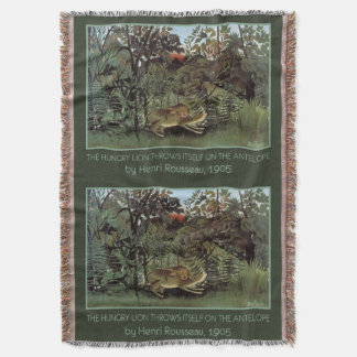 Rousseau's Hungry Lion art throw blanket