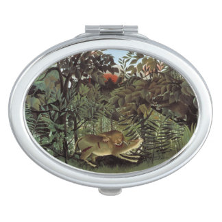 Rousseau's Hungry Lion pocket mirror