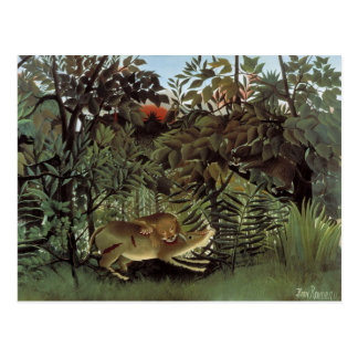 Rousseau's Hungry Lion postcard