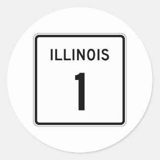 Route 1, Illinois, USA Round Sticker