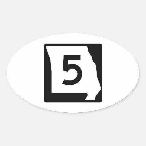 Route 5, Missouri, USA Oval Sticker