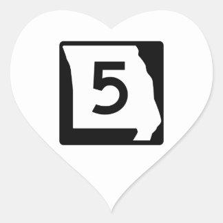 Route 5, Missouri, USA Heart Sticker