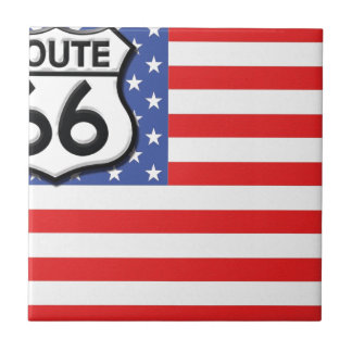 Route 66 American Flag Patriotic Small Square Tile