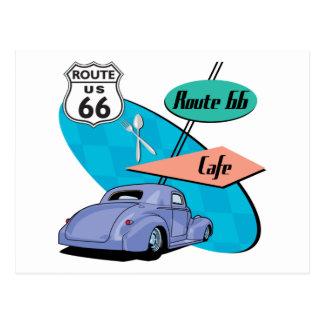 Route 66 Blue Hot Rod Café Postcard