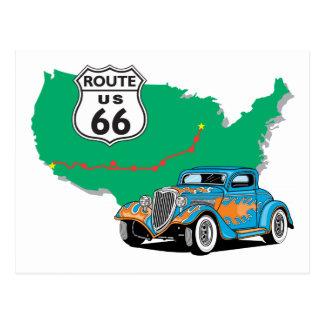 Route 66 Blue Hot Rod Postcard
