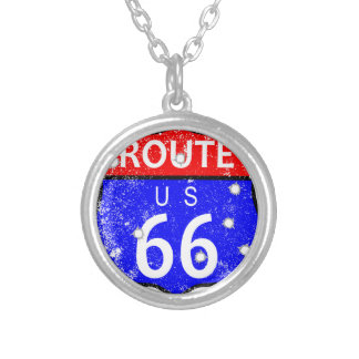 Route 66 Bullet Holes Silver Plated Necklace