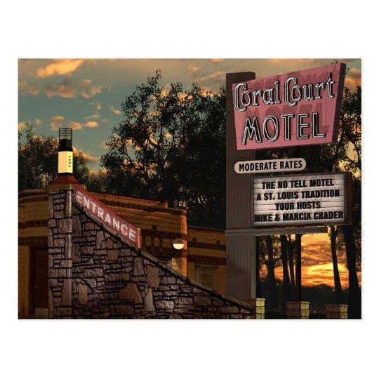 Route 66 Coral Court Motel Retro Neon Sign Postcard