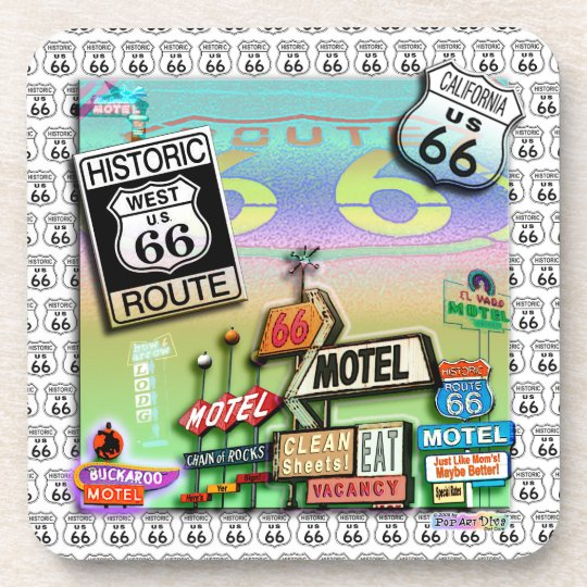 ROUTE 66 CORK COASTERS Set of 6 from PopArtDiva
