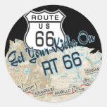 route 66 gifts round sticker