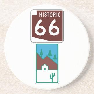 Route 66 - Historic 66 & Scenic Road Sandstone Coaster