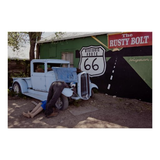 Route 66 Hot Rod Pickup Truck Posters