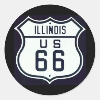 Route 66 Illinois Classic Round Sticker