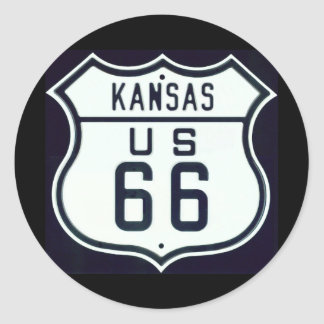 Route 66 Kansas Classic Round Sticker