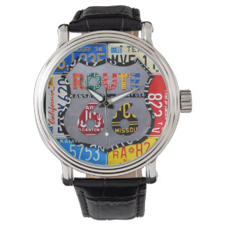 Route 66 License Plate Art Black Wrist Watch