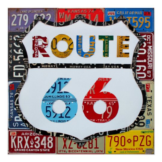 Route 66 License Plate Art by Design Turnpike