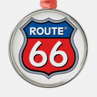 Route 66 Logo Silver-Colored Round Decoration
