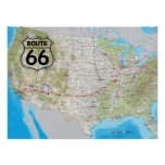 Route 66 Map Poster