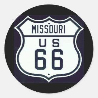 Route 66 Missouri Classic Round Sticker