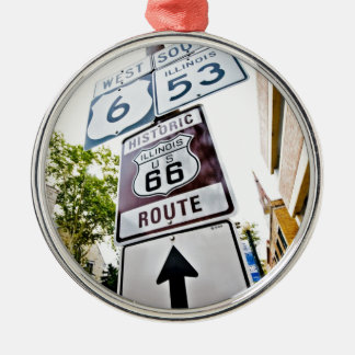 Route 66 Mother Road Silver-Colored Round Decoration