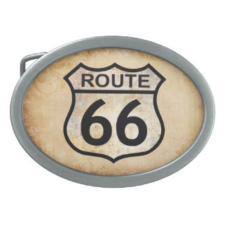 Route 66 oval belt buckle